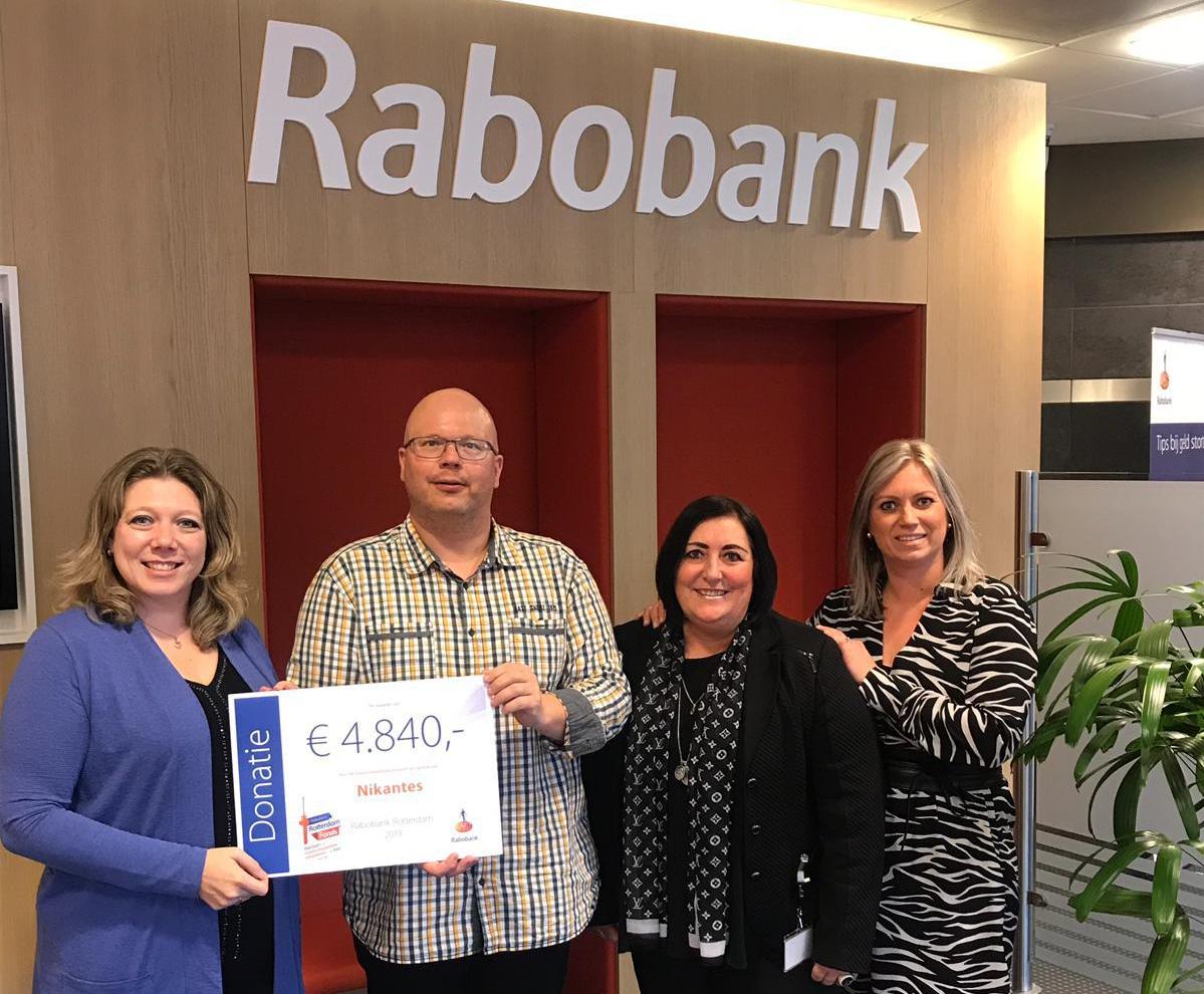 Nikantes ontvangt Cheque van RabobankRotterdamFonds dd 14-03-2019