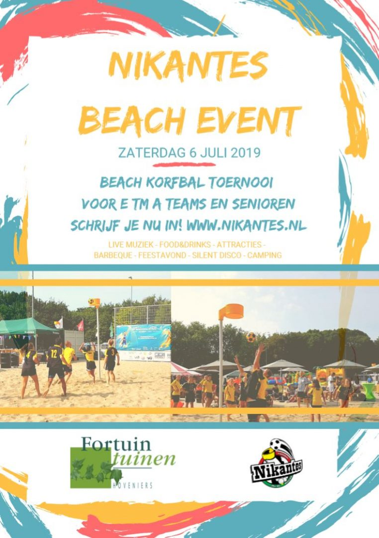 Flyer Nikantes Beachkorfbal Event zaterdag 06-07-2019