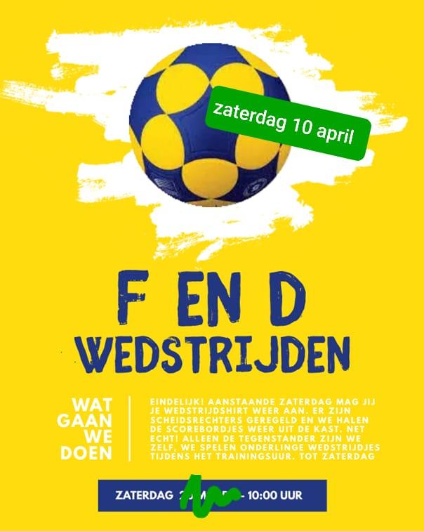 Wedstrijden F en D jeugd Zaterdag 10-04-2021